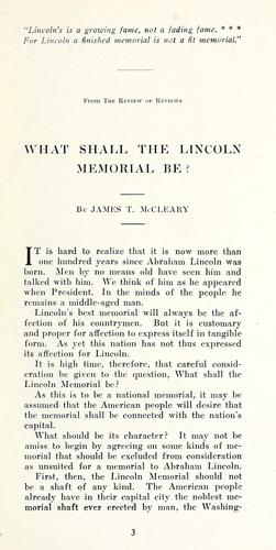 What shall the Lincoln memorial be? by J. T. McCleary