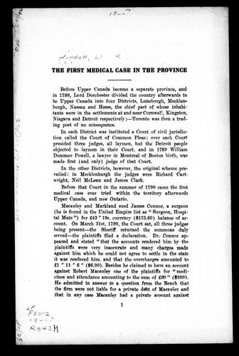 The first medical case in the province by William Renwick Riddell