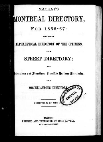 Mackay's Montreal directory for 1866-67 by Lovell, John