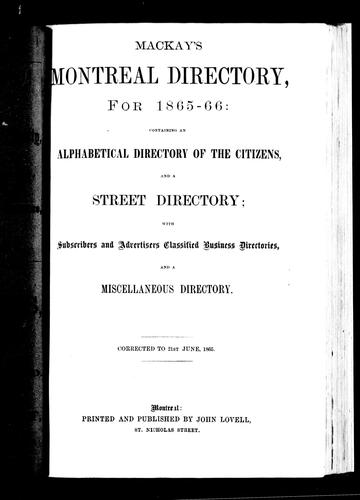 Mackay's Montreal directory, for 1865-66 by Lovell, John