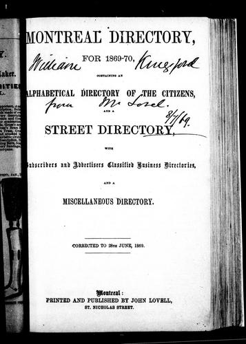 Montreal directory for 1869-70 by