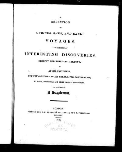 A selection of curious, rare and early voyages by Richard Hakluyt