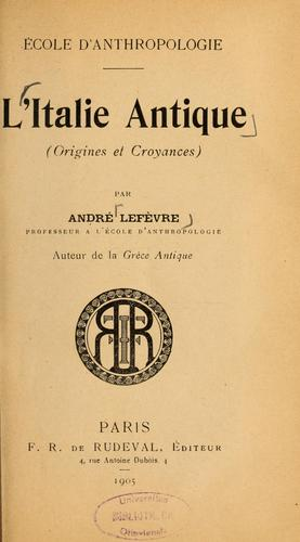 L'Italie antique by André Lefèvre