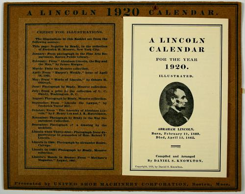 A Lincoln calendar for the year 1920 by Daniel S. Knowlton