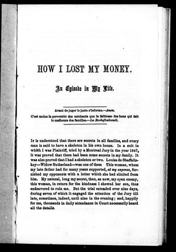 How I lost my money by A. Gugy