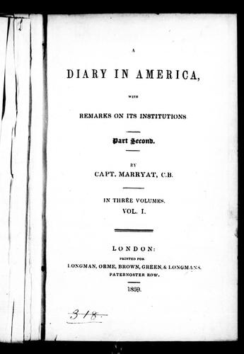 A diary in America by Frederick Marryat