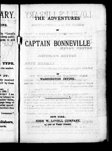 The adventures of Captain Bonneville by Washington Irving