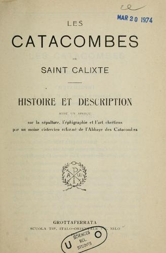 Les Catacombes de saint Calixte by Sisto Scaglia