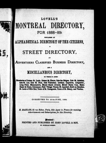 Lovell's Montreal directory for 1888-89 by