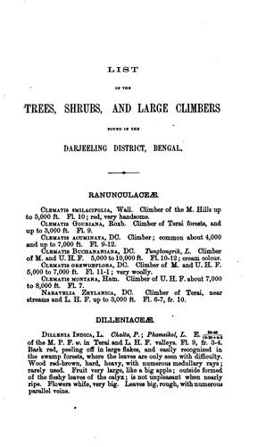 List of the trees, shrubs and large climbers found in the Darjeeling District, Bengal by J. S. Gamble