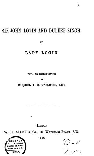 Sir John Login and Duleep Singh by Login, Lena Campbell Lady