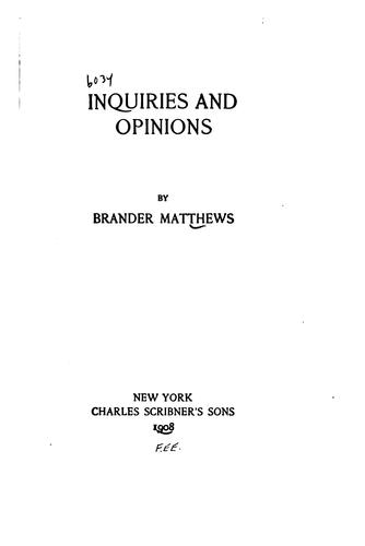 Inquiries and opinions.
