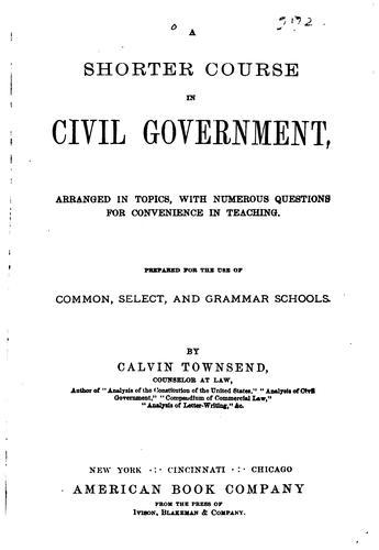A shorter course in civil government