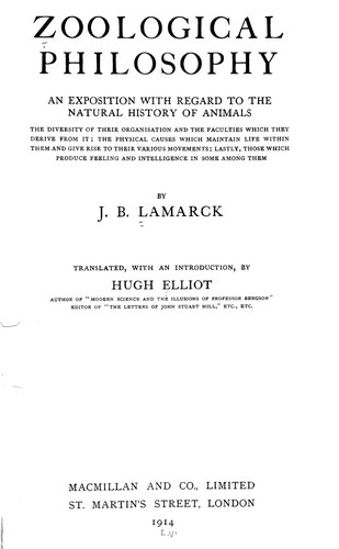 Zoological philosophy by Jean Baptiste Pierre Antoine de Monet de Lamarck