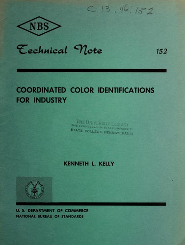 Coordinated color identifications for industry by Kenneth Low Kelly