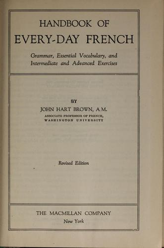 Handbook of every-day French by John Hart Brown
