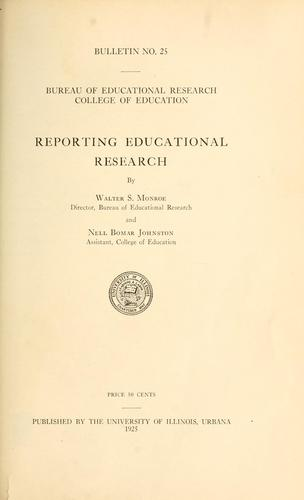 Reporting educational research by Walter Scott Monroe
