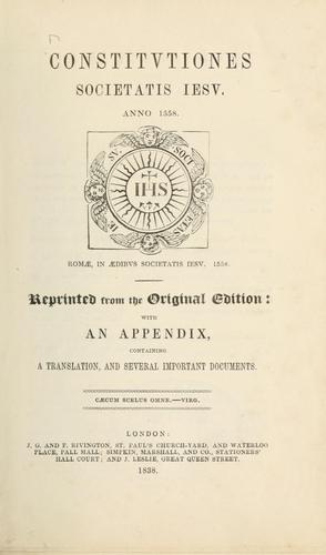 Constitutiones Societatis Iesu.