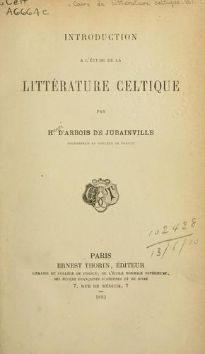Cours de littérature celtique.