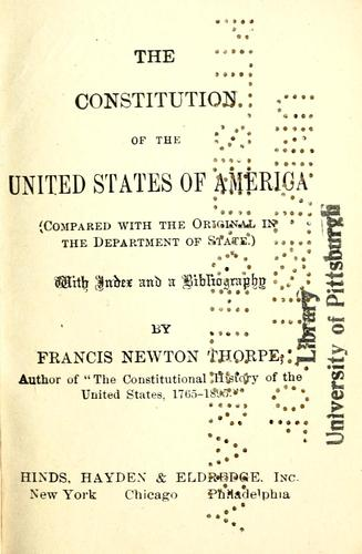 The Constitution of the United States of America (compared with the original in the Dept. of State) by United States