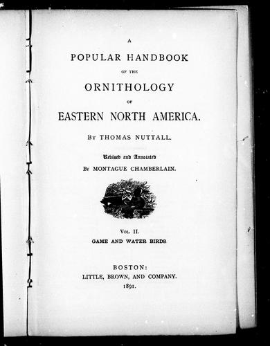 A popular handbook of the ornithology of eastern North America by Nuttall, Thomas
