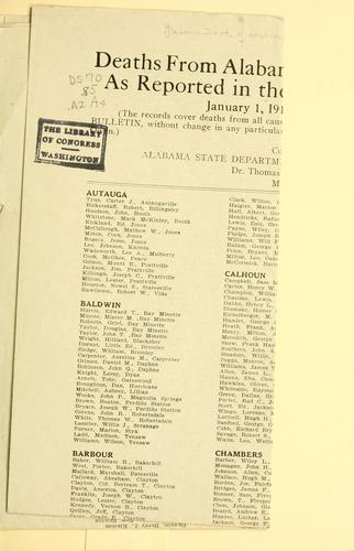 Deaths from Alabama in the European war as reported in the Official U. S. bulletin January 1, 1918 by Alabama. Dept. of archives and history