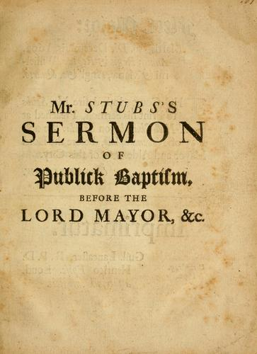 Of public baptism by Philip Stubs