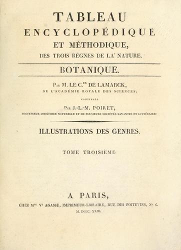 Tableau encyclopédique et méthodique des trois règnes de la nature.