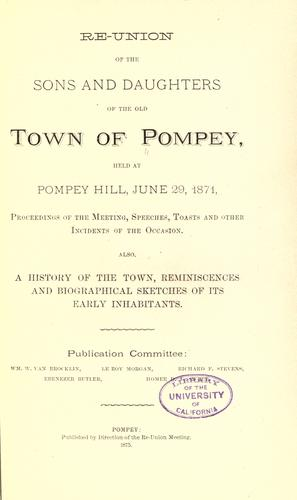 Re-union of the sons and daughters of the old town of Pompey by