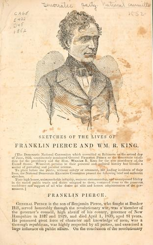 Sketches of the lives of Franklin Pierce and Wm. R. King by Democratic National Committee (U.S.)