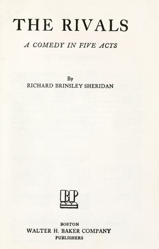 The rivals by Richard Brinsley Sheridan