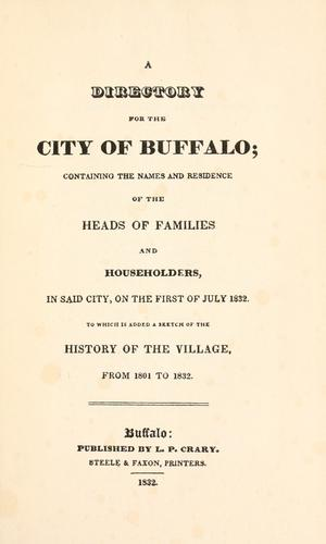 A directory for the city of Buffalo by