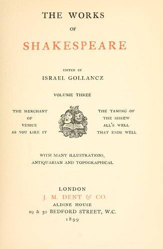 The works of Shakespeare by William Shakespeare