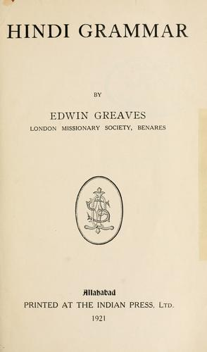Hindi grammar. by Edwin Greaves