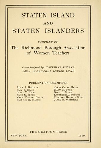 Staten Island and Staten Islanders by Richmond Borough Association of Women Teachers.