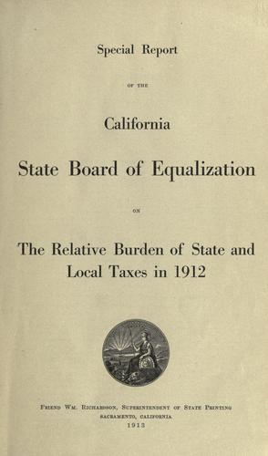 Special report of the California State Board of Equalization by California. State Board of Equalization.