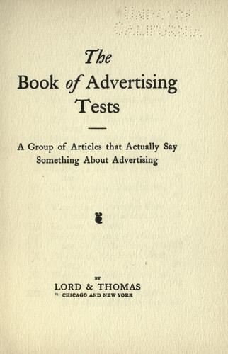 The book of advertising tests by Lord & Thomas