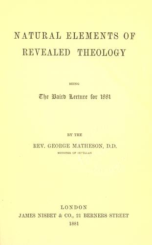 Natural elements of revealed theology by