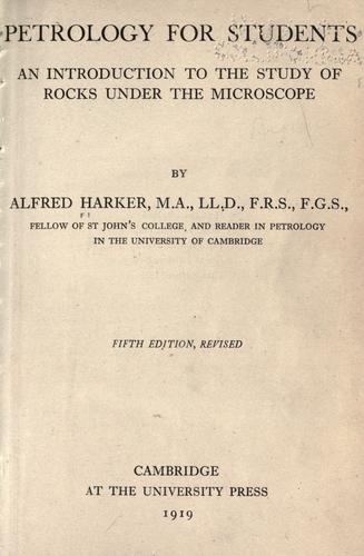 Petrology for students by Harker, Alfred